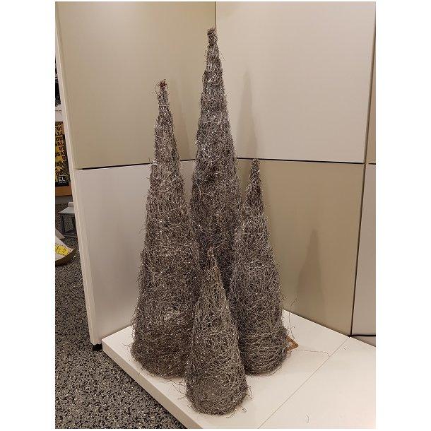 Pyramide i natur m. sølvglitter